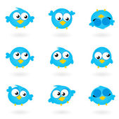 Cute blue vector Twitter Birds icons collection isolated on whit — Vector de stock
