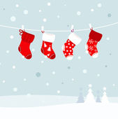 Christmas stockings in winter nature - white and red — Stock Vector
