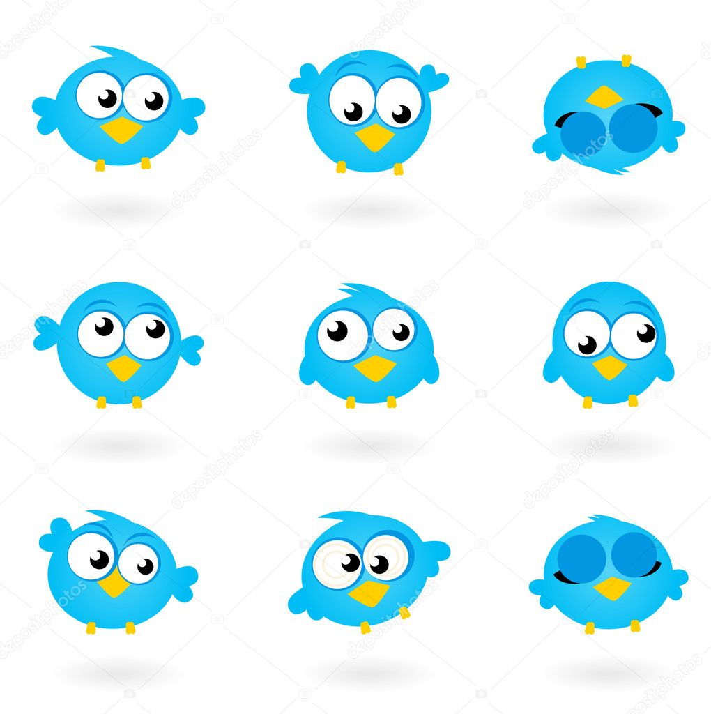 Blue funny Twitter Birds collection. Vector icons — Stock Vector #7344639