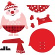 Dress up your Santa! Christmas retro icons & design elements — Stock Vector