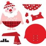 Dress up your Santa! Christmas retro icons & design elements — Stock Vector