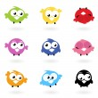 Cute color vector Twitter Birds icons collection isolated on whi - Stock Vector