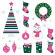 Christmas cartoon icons &amp; elements(green, pink) - Stock Vector