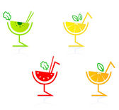 Fresh and colorful fruity drinks collection isolated on white — Stock Vector