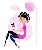 Cute beauty Woman in pink Hair salon. — Stock Vector