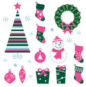 Christmas cartoon icons & elements(green, pink) — Stock Vector