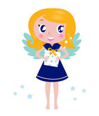 Happy little christmas angel Child with present — Stock Vector