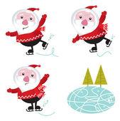 Winter & christmas: Santa Claus ice skating — Stock Vector