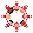 Cute christmas multicultural children in circle — Stock Vector