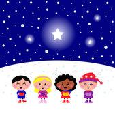 Cute multicultural Kids singing Christmas Carol song — Stock Vector