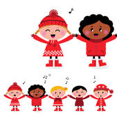 Happy smiling caroling multicultural kids singing song — Stock Vector