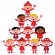 Christmas multicultural kids Tree isolated on white — Stock Vector