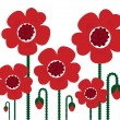 Stock Vector: Red Poppy flowers isolated on white, retro