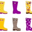 Wellington fashion boots  - yellow & pink — Vettoriali Stock