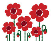 Red Poppy flowers isolated on white, retro — Stock Vector