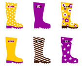 Wellington fashion boots - yellow & pink — Stock Vector
