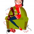 Stock Vector: Beautiful woman knitting hand made knitwear