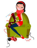 Beautiful woman knitting hand made knitwear — Stock Vector