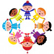 Happy winter cartoon kids in circle isolated on white — Stock Vector