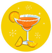 Retro Margarita drink or cocktail with citrus fruit — Stock Vector