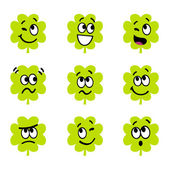 Cartoon four leaf clovers with facial expression — Stock Vector