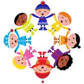 Happy zimě kreslené děti v kruhu izolovaných na bílém — Stock vektor