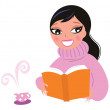 Cute woman in warm pullower reading book — Stock Vector