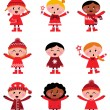 Cute little christmas kids collection isolated on white — Stock Vector