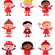 Cute little christmas kids collection isolated on white — Stock Vector #7715259