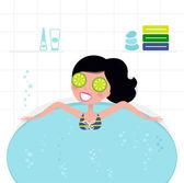 Cute retro woman relaxing in whirlpool foam bath — Stock Vector
