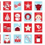 Advent calendar, retro christmas icons — Stock Vector