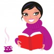 Beautiful Woman reading red book isolate on white — Stock Vector