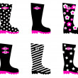 Retro patterned wellington rain boots isolated on white — Stock Vector