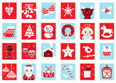 Advent calendar, retro christmas icons — Stock Vector