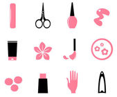 Manicure, cosmetics and beauty icons — Stock Vector