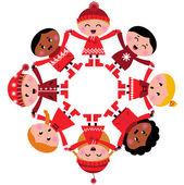 Enfants heureux hiver multiculturelle, main dans la main — Vecteur