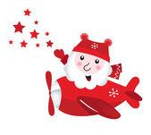 Lindo santa volador tocando estrellas de navidad — Vector de stock