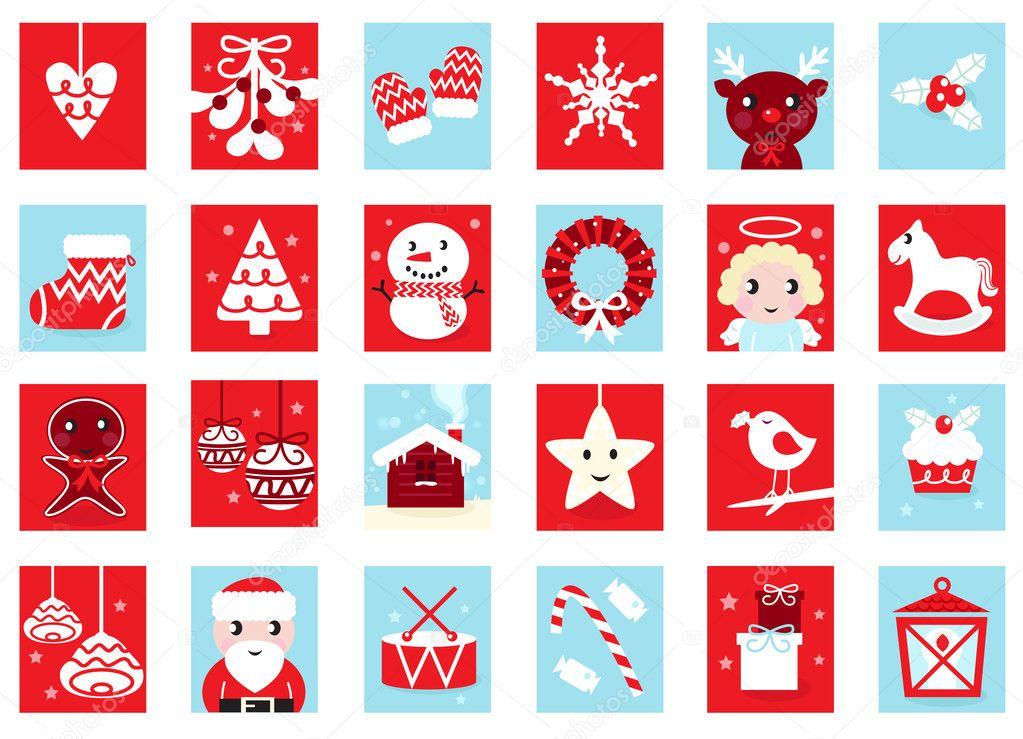 adventskalender retro weihnachts icons stockvektor lordalea 7876028. Black Bedroom Furniture Sets. Home Design Ideas