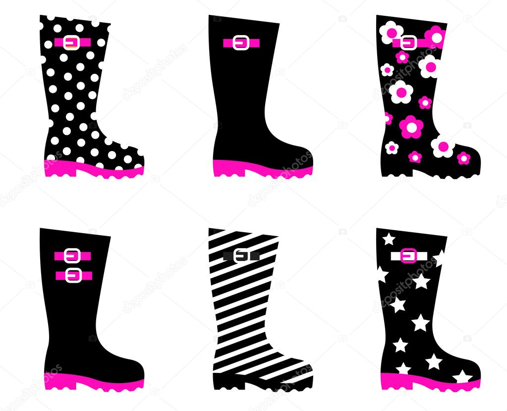 Vector collection of fashion wellies isolated on white. — Stock Vector #7876070