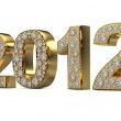 Golden 2012 with diamonds — Stock Photo