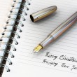 Fountain pen written Happy New Year — Stok fotoğraf #7162985
