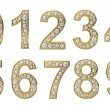Golden numbers with white diamonds — Stock Photo