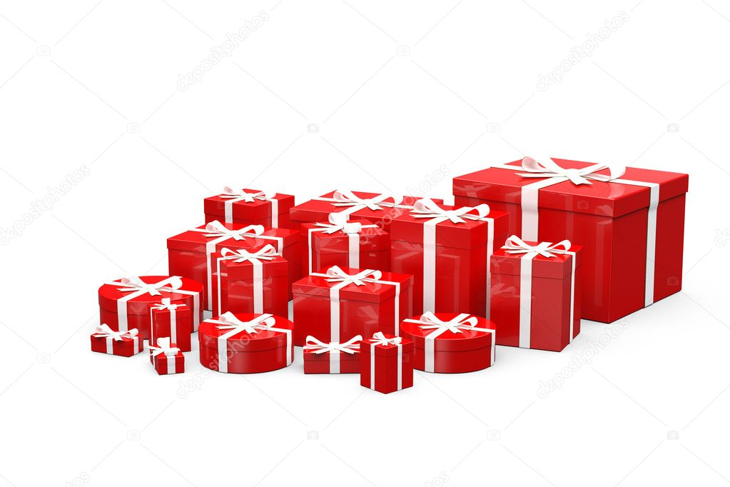Red  gift boxes  with white ribbon on white background — Stock Photo #7687776