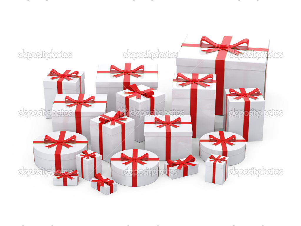 White  gift boxes  with red ribbon on white background  Stock Photo #7687897