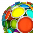 Banks of multicolored paint in sphere - Stock Photo