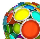 банки разноцветные краски в сфере — Стоковое фото