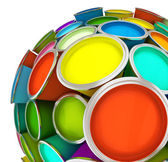 Banks of multicolored paint in sphere — Stock fotografie