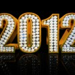 Modern 2012 year isolated on the black background - Stock Photo