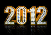 Modern 2012 year isolated on the black background — Foto Stock