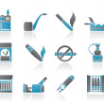 roken en sigaret pictogrammen — Stockvector
